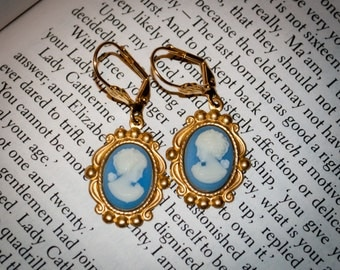 Jane Austen Wedgwood Blue Cameo Earrings: Catherine