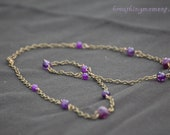 Purple Ameythst and Chain Necklace