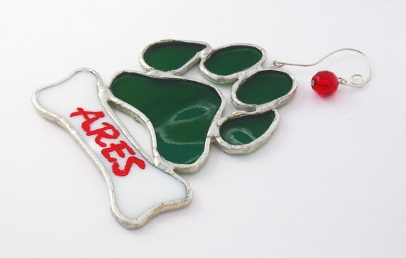 Personalized Christmas Ornament - Dog Paw Print - Stained Glass Ornament - Made to Order