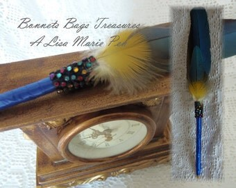 Macaw feather pen Tropical Wedding Wrapped Pen Feather Pen guest book pen Desk Pen teacher gift