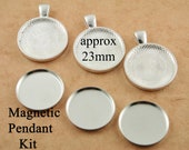 10 DIY Sturdy Magnetic Pendant Making Kit for use with 1 inch Interchangeable Magnet Back Buttons  - Affordable. 23mm Tray and insert Kit