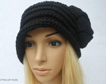 Chunky Crochet Flapper Cloche Beanie Brimmed Hat 192O Womens Ladies Teens  Elegant Black Merino Wool Vintage Romantic Style
