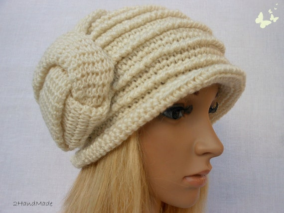 Chunky Crochet Flapper Cloche Beanie Brimmed Hat 192O Womens Ladies Teens  Elegant Ivory Merino Wool Vintage Romantic Style
