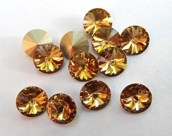 12 Light Colorado Topaz 39ss Swarovski Rivoli Rhinestones-loose rhinestones-wholesale rhinestones
