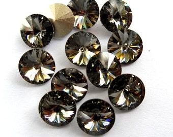 12 Black Diamond 39ss Swarovski Rivoli Rhinestones-Loose Rhinestones-Bulk Rhinestones-Wholesale Rhinestones-Loose Crystals