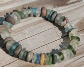 Lake Erie Beach Glass and Beach Stone Bracelet expandable
