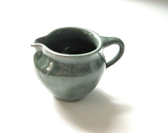 Vintage Pottery Ohio Creamer in Green Pottery Handmade Pottery Deep Teal Green Glaze Coffee