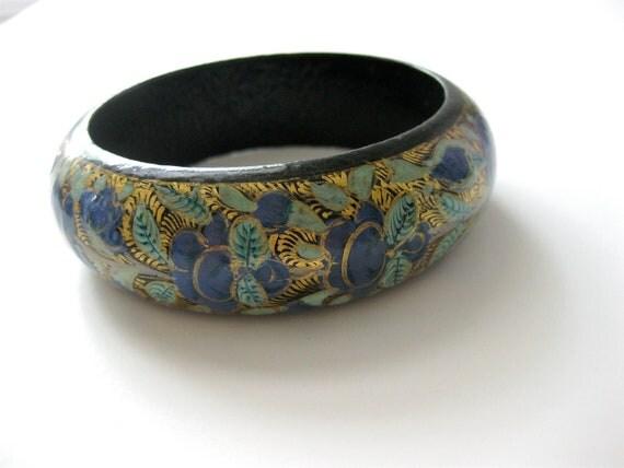 Bangle Bracelet Vintage Hand Painted Wood Cobalt Blues Golds Greens Aqua Flowers