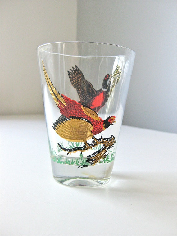 Cocktail Glass with Pheasant Birds and Gold Trim Autumn Fall Scene Vintage Etched Barware