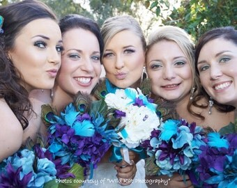 Peony Wedding Bouquet-Tiger Lily, Peacock Feather Bridal Bouquet- Themed Wedding- Customized To Your Wedding Colors- SOLD