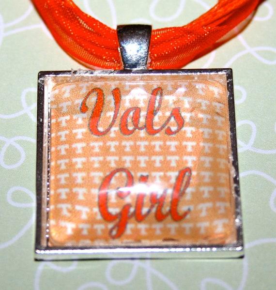 Vols Girl- orange and white team spirit square necklace
