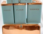 Lincoln Beautyware Kitchen Canister Set (6) Turquoise Copper BeautyBox Bread Box