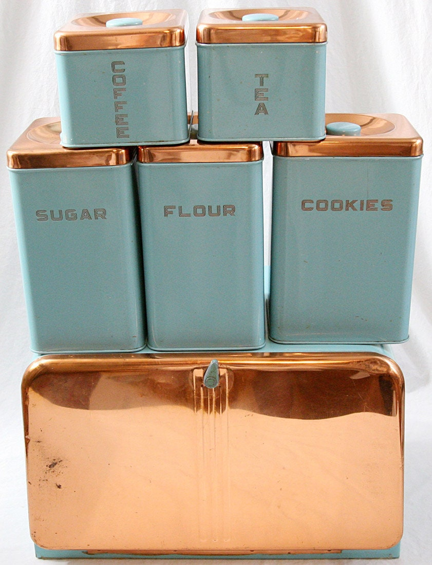 Lincoln beautyware kitchen canister set 6 turquoise copper for Kitchen accessories sets