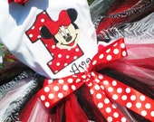 Minnie Mouse 1st Birthday Classic Red Tutu Outfit - Red and White Polka Dot Minnie Mouse