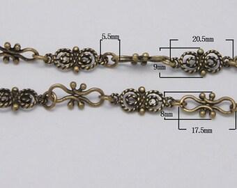 144- Chain antique  bronze color, about 9mm wide  (1m)