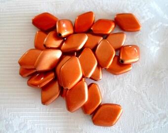 167-  Acrylic beads rhumbus, dark orange, 17mm long, 12mm wide, (20 pcs)