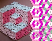 Optical Illusion Crochet Pattern. 3D illusion crochet stacked cubes No 1. Diamond granny square. Tumbling blocks. Hexagon crochet blanket