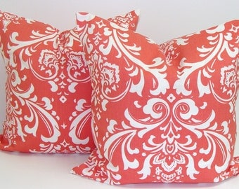 CORAL PILLOWS .SET Of Two.18x18 inch.Pillow Covers.Home Decor.Decorative Pillows.Throw Pillow.Housewares.Coral Floral.Damask.Coral Cushion