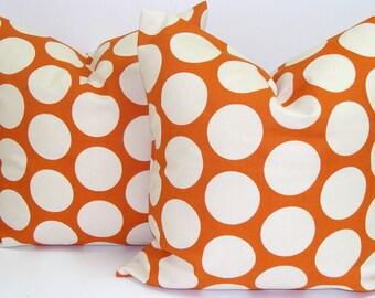 ORANGE PILLOW SET.16x16 inch.Throw Pillow Covers.Housewares.Decorative Pillows.Polka Dot Fabric.Toss Pillows.Throw Cushion.Cm.Orange Polka