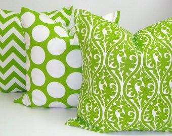 GREEN PILLOW SET.16x16 inch.Green Pillow Covers.Decorative Pillows.Cover.Housewares.Christmas Decor.cm.Lime Green Pillows.Cushion.Cm.Bright