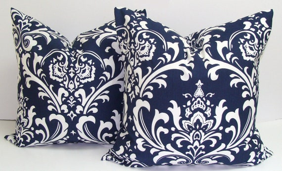 NAVY Pillows.SET of TWO.18x18 inch.Decorative Pillow Covers.Home Decor.Housewares.Floral.Damask.Navy Blue Pillow Covers.Navy Blue.Dark Blue