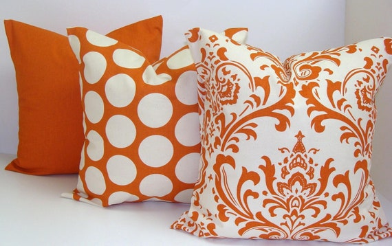 Orange Pillows THREE PIECE SET.16x16 inch..Decorative Pillow Cover.Printed Fabric Front and Back.Solid Orange.Polka Dot.Damask Pillows
