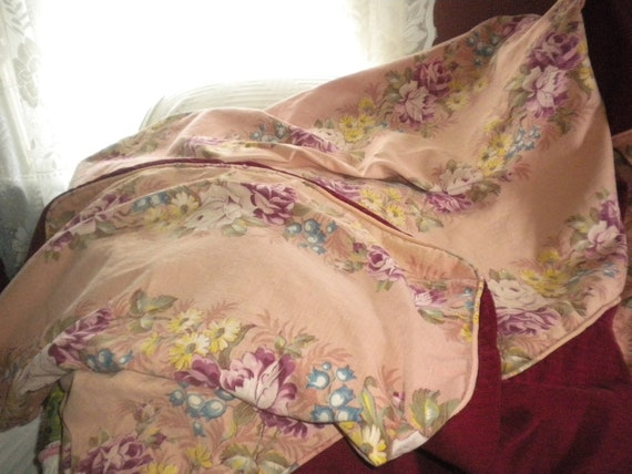 Vintage Barkcloth Daybed Cover and 3 Pillow CoversShabby