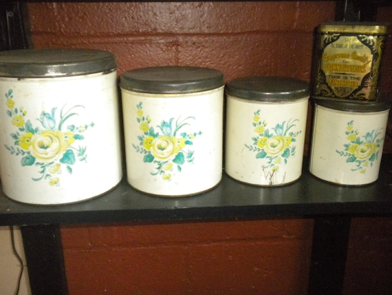 CLEARANCE SALE.....Vintage Canister Set,Roses,Tin,Country,French Country,Eclectic,Primitive,Nursery