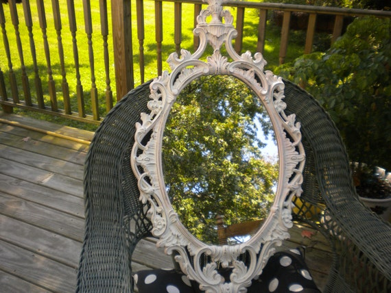 CLEARANCE SALE..Large RARE Homco or Burwood Ornate Pink and white distressed Mirror,Baroque,Victorian,French Country,Shabby chic