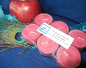 macintosh apple scented soy tea light candles, 6 pack, red