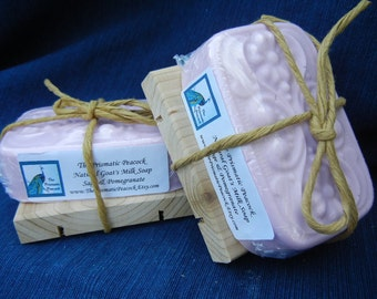 sage and pomegranate scented goat's milk bar soap mauve