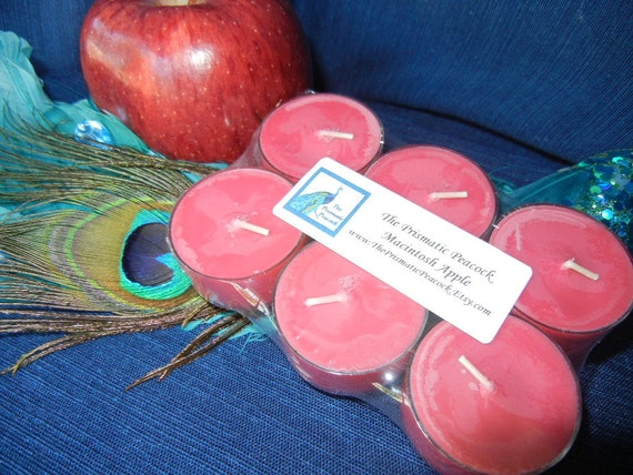 Macintosh Apple Scented Soy Tea Light Candles, 6 pack