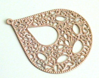 New - 2pc- Peach -  Handpainted  OVAL - TEARDROP -, filigree stamping, big boho chick drop, pendant, faux patina...cadmium free