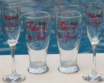 3 Personalized Mother and Father of Bride and Mother and Father of Groom Glass Set