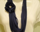 Navy Blue Cotton T-Shirt Infinity Scarf with removable Flower