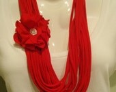 Cotton T-Shirt Infinity Scarf with removable Flower - Red