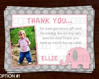Elephant Theme Thank You Card | Pink & Grey | Personalized | Printable DIY Digital File