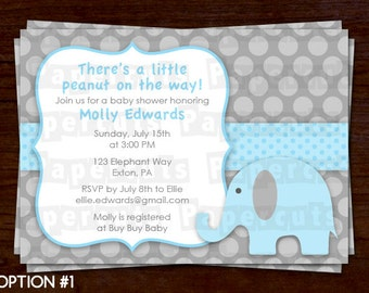 Elephant Theme Baby Shower Party Invitation   Blue & Grey   Personalized   Printable DIY Digital File