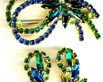 D&E aka Juliana Multi Blue and Green Demi Parure    Item No: 15005