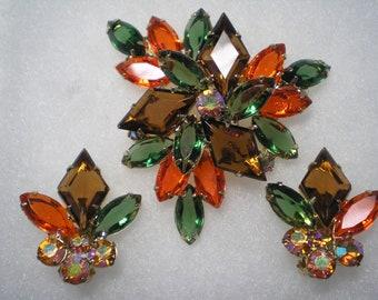 SALE  PRICE      DeLizza and Elster aka Juliana Topaz,Orange,Green Diamond Shape Demi    Item No: 16367