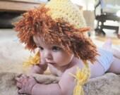 Newborn Crochet Lion Hat-- Newborn Photo Prop-Halloween Available in Newborn 0-3 months and 3-6 months--Jungle Theme--Noah's Ark