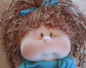 Handmade Soft Cloth Baby Doll, Soft Sculpture, Dinky Baby, Red Hair, Green Eyes