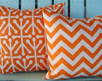 Set of 2 orange,natural Aruba and chevron print fabric- decorative pillow cover-throw pillow-accent pillow