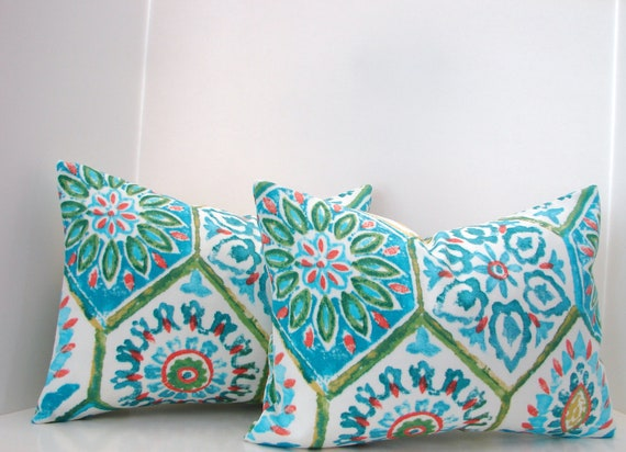 "Set of 2 12"" X 16""  lumbar turquoise,green,coral, blue outdoor designer fabric - decorative pillow cover-throw pillow-accent pillow"