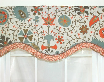 Caruso ruffled shaped valance with scalloped trim