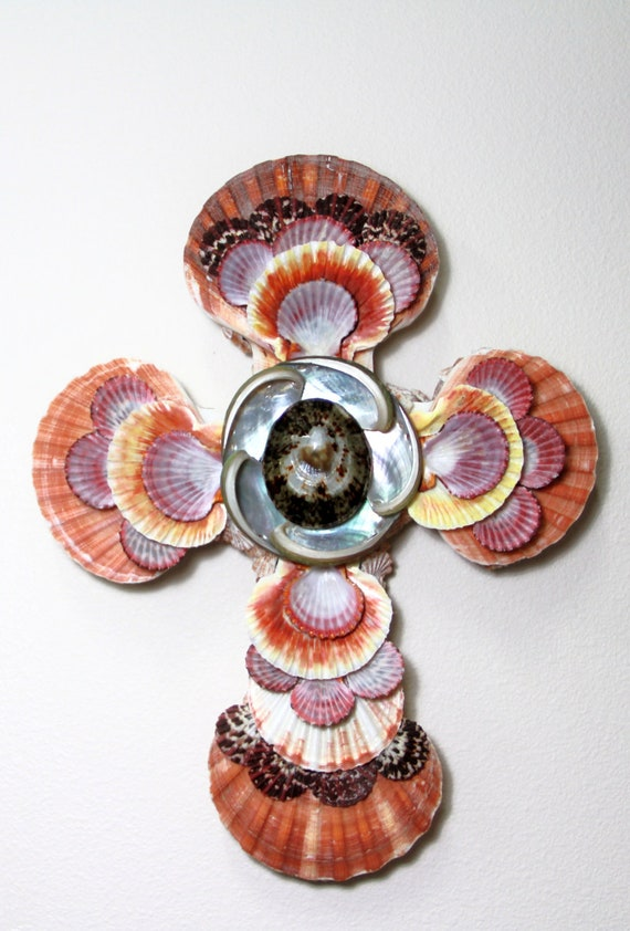 Items similar to sea shell cross for home decor with for Shells decorations home