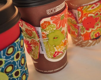 Pattern Fabric Coffee Cozies - Reusable Coffee Sleeves