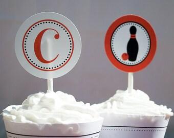Bowling Birthday Party Printable Cupcake Topper. bowling party circles