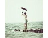 11x14 Vintage Photography Print of Girl on Lake