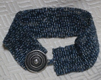 Peyote Stitch Beaded Bracelet - Denim Blue tones